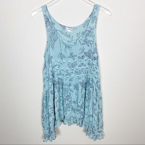 FREE PEOPLE blue floral trapeze dress